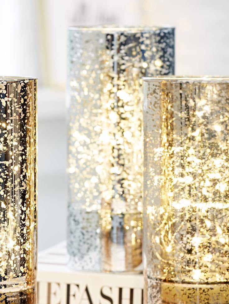 LED-Windlicht, Glänzendes Windlicht, Edel, Weihnachtsdeko.