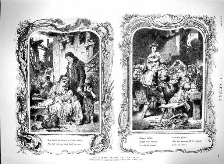 Antique d'Impression 1880 Schiller Chanson de Bell Liezen Mayer Sitz Illustration