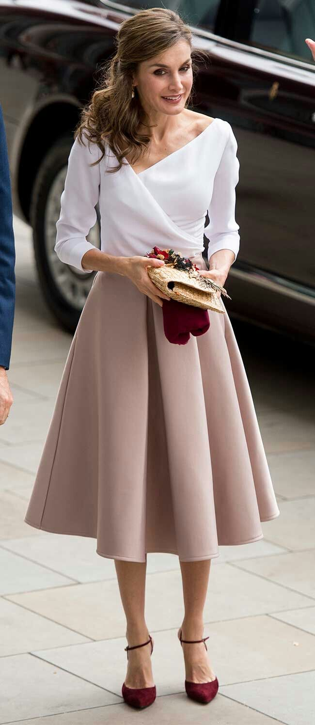 Queen Letizia - 1940's style - satin midi skirtin a chic champagne colourway by Topshop - white surplice neck blouse - Lodi burgundy suede ankle strap pumps - straw clutch by Suma Cruz