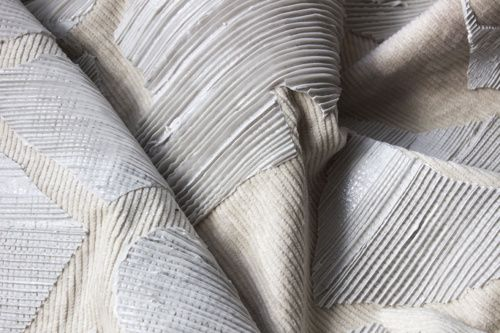 Experimental Textiles combining traditional fabrics & silicone for unexpected texture; fabric manipulation // Lucy Simpson