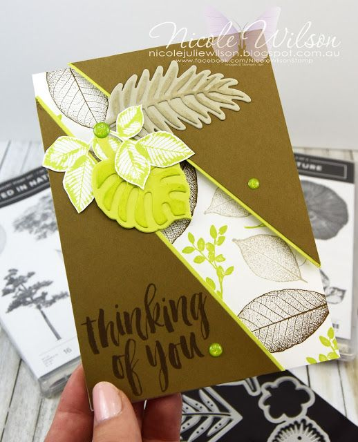 Nicole Wilson Independent Stampin' Up!® Demonstrator -  Rooted in Nature, Natures Roots & Tropical Thinlits thinking of you diagonal split card #stampinup #onstage #onstage18 #stampinup30 #nicolewilsonstamp #rootedinnature #wood #tropical #thinkingofyou #displaystamper