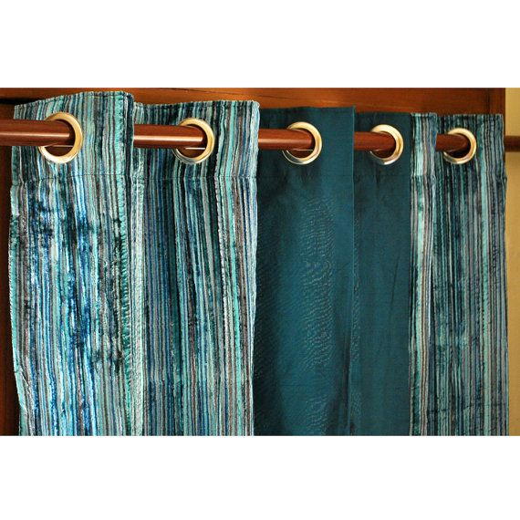 "Teal Velvet Pin Stripes And Peacock Green Silk Curtain Panels 26""x84 ..."