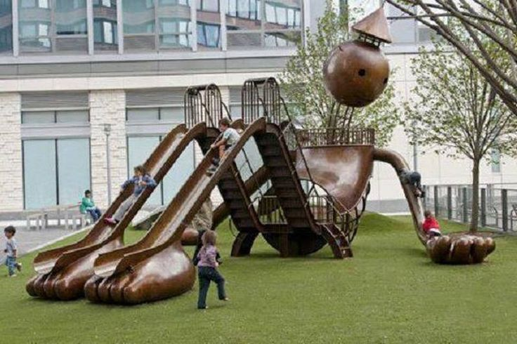 Silver Towers Playground by Tom Otterness (2010), New York, USA