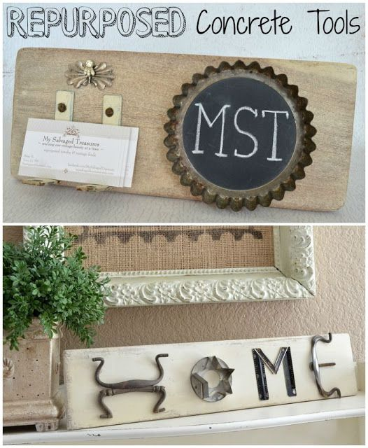 Trash to Treasure Concrete Tools. Personalized business card holder and junky HOME sign. From MySalvagedTreasures.com