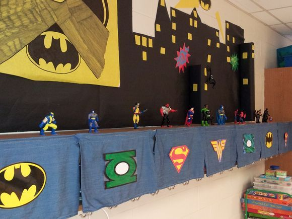 "Just found the best decorated classroom EVER. The theme of the room is ""super learners."""