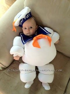 """Ah, memories...I submitted photos of April's Mr. Stay Puft Marshmallow Baby Halloween costume from last year into a homemade costume contest.  Please """"re-pin"""" if you like it!!     Tags: Stay Puft Costume Stay Puft Marshmallow Man Halloween Costume Stay Puft Baby Costume Homemade Stay Puft"""