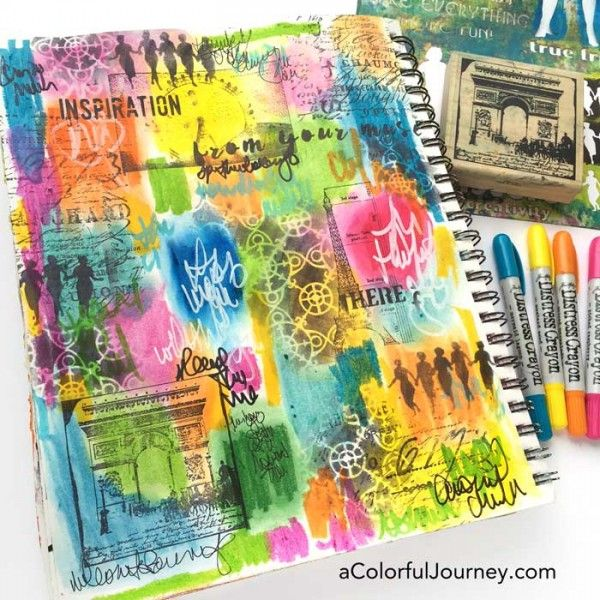What are distress crayons from TIm Holtz? Video showing how to use them in an art journal and what pens will write on it by Carolyn Dube; Mar 2016