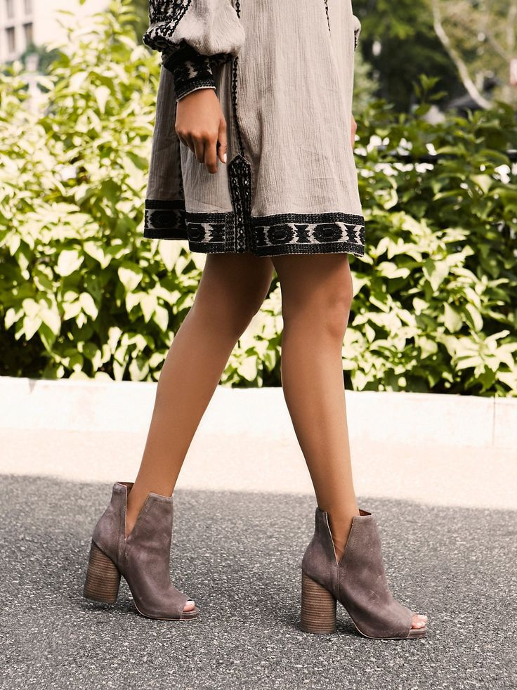 Pinterest // Sophie Kate... ℓσνєѕ ღ #InfinityHeelBoot | Modern suede ankle boot with a peep toe design and structured side cutouts. Chunky block heel for a cute and comfortable step. Padded footbed for support.