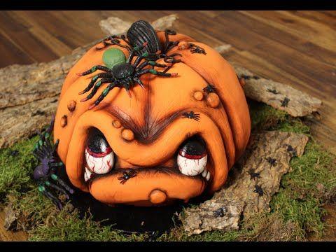 3 D Torte: Kürbis-Gesicht / How to make a 3 D Pumpkin Cake / Halloween /...