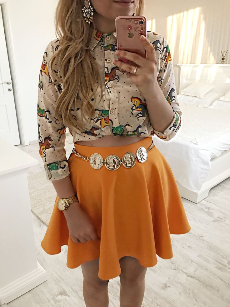 Summer outfit, orange skirt, vintage golden belt
