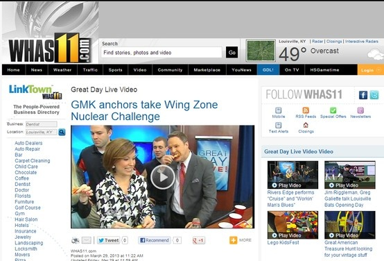 Check out #WingZone's Adam Wyatt on WHAS in Louisville! The anchors try to handle our hottest wings! whas11.com/great-day-live…
