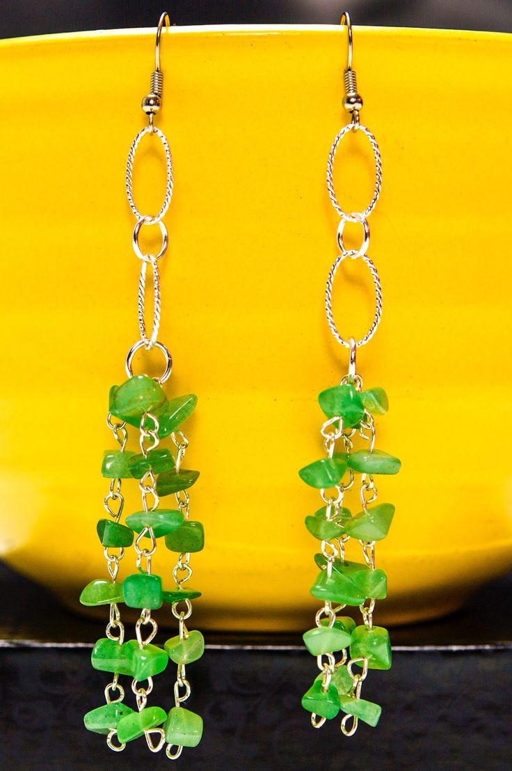 Elegant Silver Jade Green Dangling Earrings