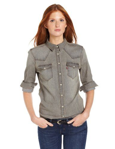 Denim Shirts Outfit \u0026 Women\u0027s Dress Fashion , Levi\u0027s Women\u0027s Stretch Annie  Denim Shirt, Gray