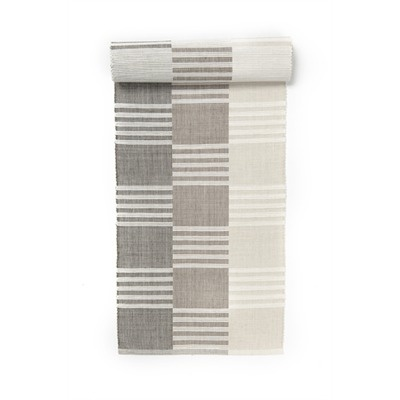 "Really tasteful handwoven cotton reversible table runner for modern table. 13""X72"" grey/taupe/beige."