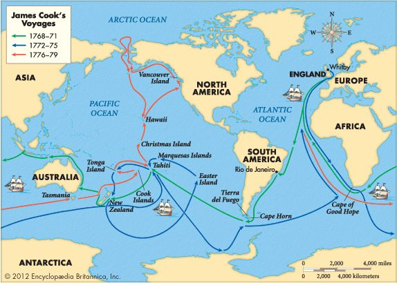Hand in hand with the Enlightenment was an emphasis on exploration and discovery. The Royal Society sponsored Captain James Cook's voyages, shown here.