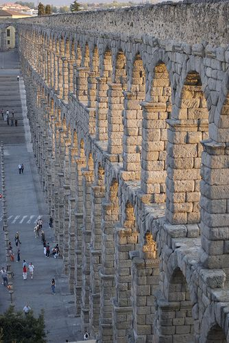 Roman Aqueduct - Segovia, Spain. It features 168 arches and the granite blocks used in its construction were assembled without mortar.