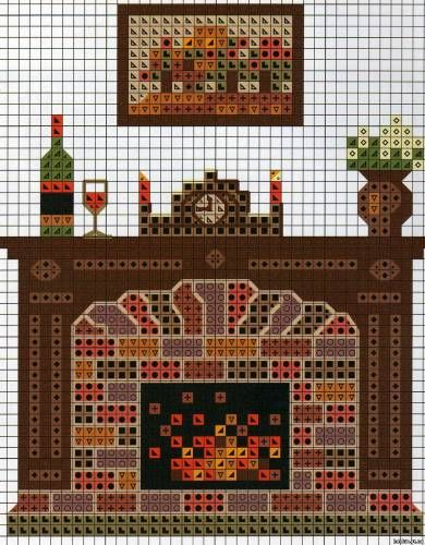 Fireplace pattern / chart for cross stitch, crochet, knitting, knotting, beading, weaving, pixel art, and other crafting projects