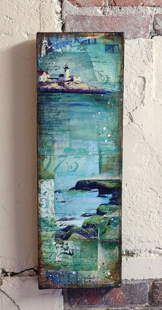 "Little Cape Ann No. 2 - 8"" x 24"" original mixed media on canvas - nautical lighthouse beach collage with typography text"