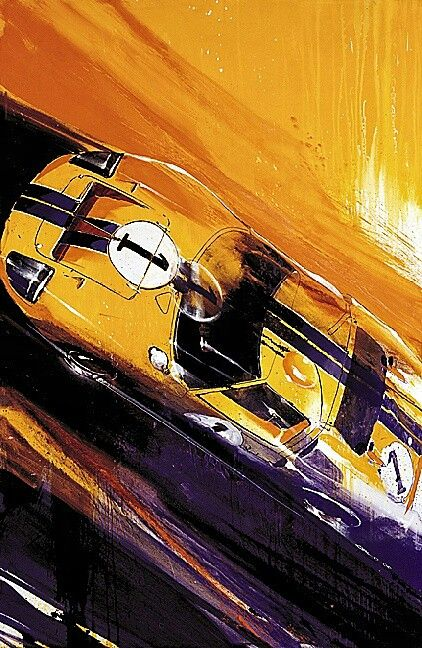 "The Ford GT40 Mk II piloted by Ken Miles and Denny Hulme during the 24 Hours of Le Mans in 1966. Miles and Hulme went on to finish second in the race, sandwiched between two other GT40s in an all-Ford podium.  Artwork ""GT Sunrise"" by Camilo Pardo"