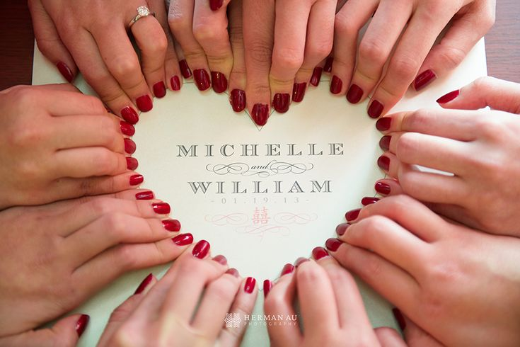 Cute wedding photo idea bridesmaids nails form <3 around print of couples names || Herman Au Photography