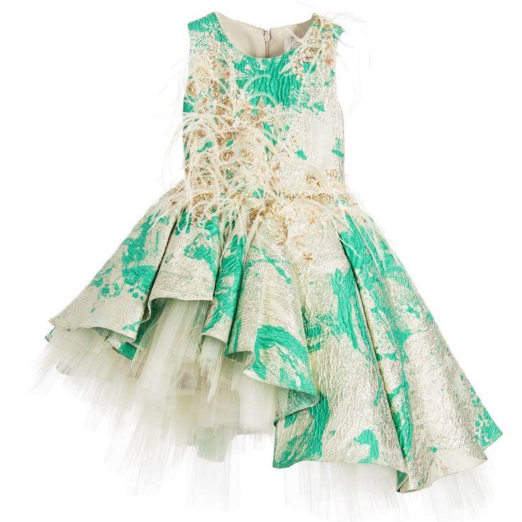 Mischka Aoki Green & Gold 'Hello My Queen' Couture Dress at Childrensalon.com