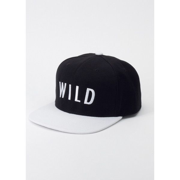 Kill Brand Wild fang Black White Wild Snapback | Wildfang ($34) ❤ liked on Polyvore featuring accessories, hats, black, white black snapback, black white snapback, six panel hat, snap back hats and embroidery hats