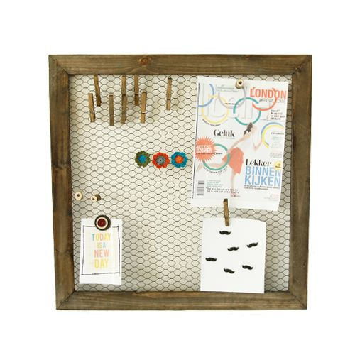 Leuk zelfmaak idee, magneetbord van kippengaas.