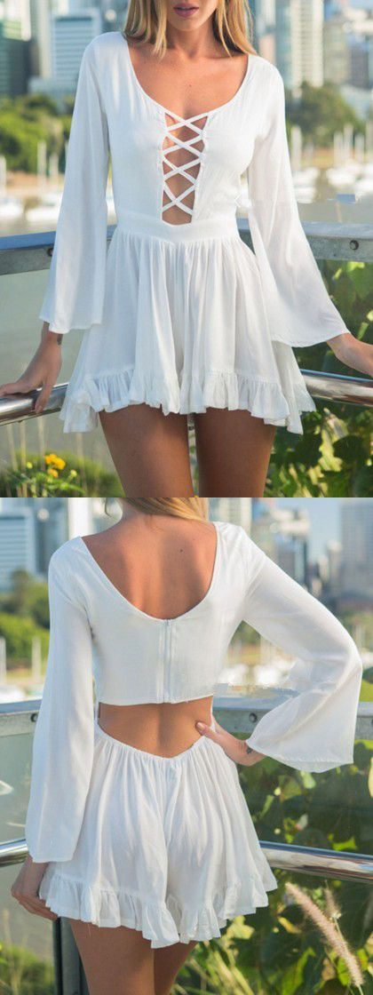 White Strappy Cut Out Back Flounce Hem Romper Playsuit