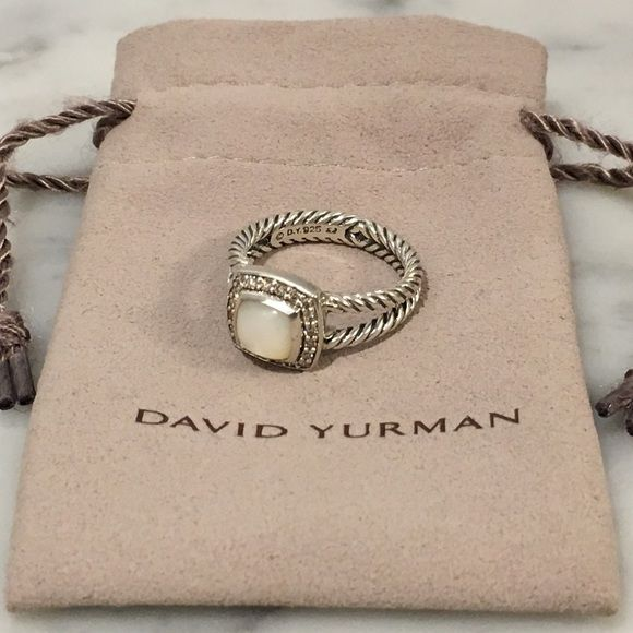 David Yurman Petite Albion Ring Stunning Authentic sterling silver David Yurman Petite Albion Ring. Split shank ring featuring bezel set white agate with pavè diamond halo. Hallmark 925. 0.2 ctw diamond. Barely used, excellent condition. David Yurman Jewelry Rings