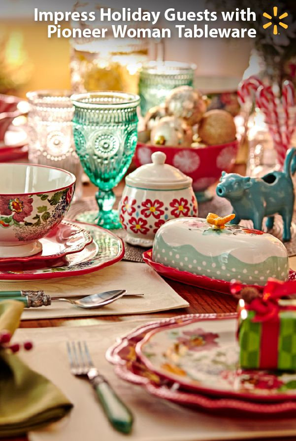 """Make it merry! Give your home a festive look for the holidays with Pioneer Woman cookware & tableware. This fun and affordable collection includes bold patterns, vintage looks and delicate florals that look great together and are perfect for entertaining. From cast iron kitchen classics to colorful plates and glassware, you'll love mixing pieces to create a look that will """"wow"""" your guests. For entertaining and gifting ideas, check out the entire collection exclusively at Walmart and…"""