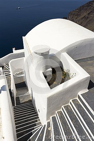 Typical cycladic architecture, at the town of Imerovigli, in Santorini island, Cyclades, Aegean Sea, Greece.