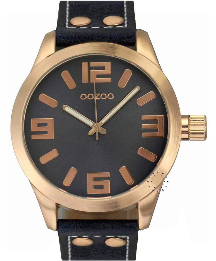 OOZOO Large Τimepieces Rose Gold Black Leather Strap Μοντέλο: C6029 Η τιμή μας: 69€ http://www.oroloi.gr/product_info.php?products_id=35055