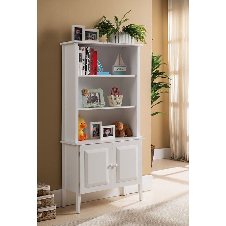 K&B Tall White Bookcase with Cabinet (BK120)