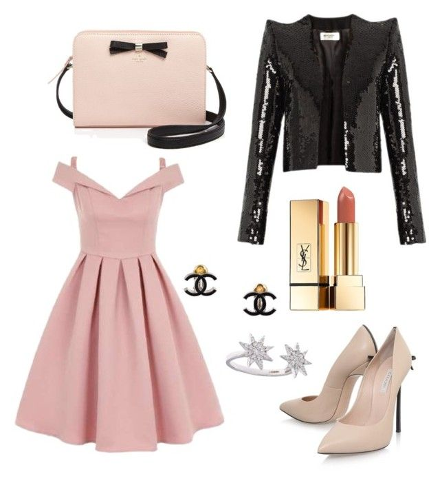 """Ladylike Glamour"" by brittanynorma on Polyvore featuring Chi Chi, Yves Saint Laurent, Casadei, Bee Goddess, Kate Spade and Chanel"