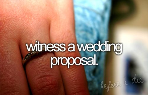 witness a wedding proposal: Buckets, Before I Die, Things, Wedding Proposals, Bucket List 3, Witness, Bucket Lists