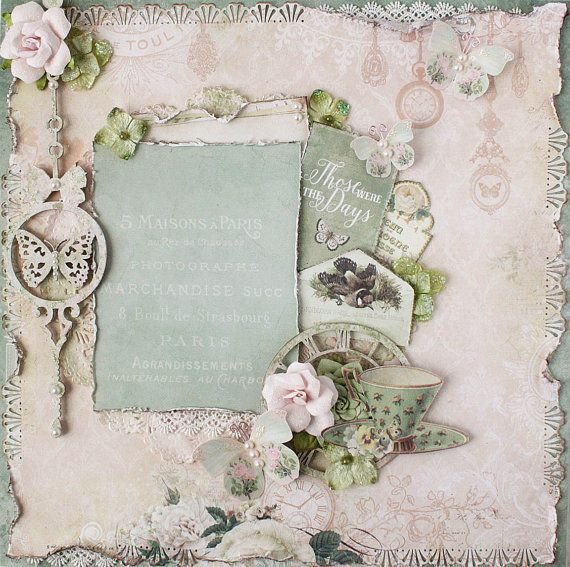 Premade 12 x12 Shabby Chic Scrapbook Layout, Blue Fern Studios, Prima, Petaloo, Album, Wedding, Butterflies