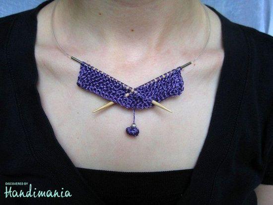 Circular needle knitting necklace.