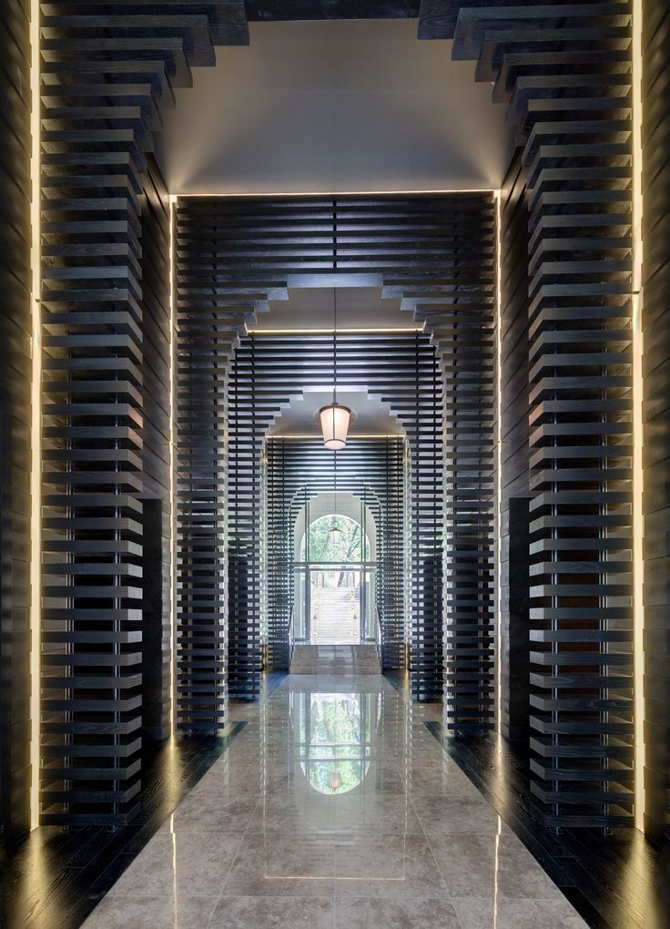 Inventive use of timber slats in this #hotel #lobby by Kelly Hoppen for yoo Hotels, Russia