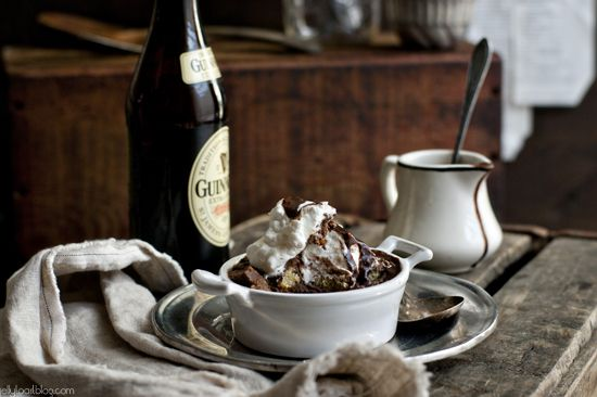 Dinner: chocolate balsamic bread pudding with guinness chocolate sauce ...