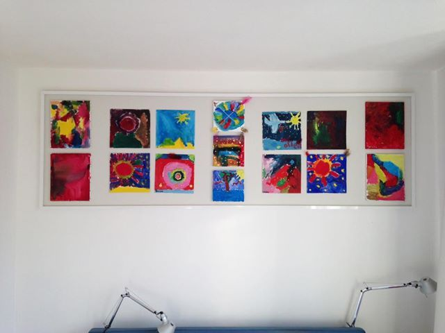 Frame covered with skai, for paintings of the kids.