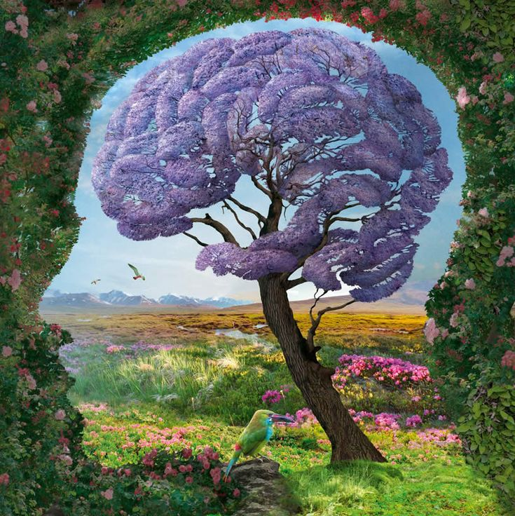 "Illusion: Polish illustrator Igor Morski has envisioned this beautiful series titled ""Nature."" All of the images include optical illusions, and it was very clever that he place a round edged tree as the human brain and spine. http://illusion.scene360.com/art/41625/pictures-of-your-imagination/"