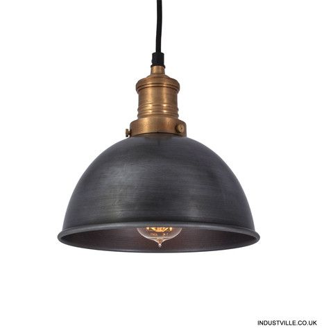 Brooklyn Vintage Small Metal Dome Lamp Shade - Dark Pewter - 8 inch