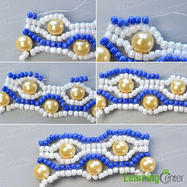 make the seventh part of the blue seed bead stitch wide bracelet
