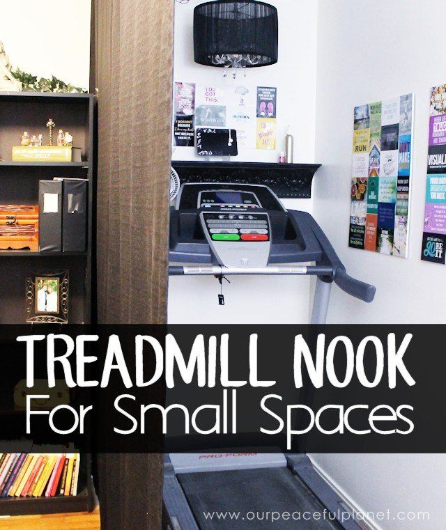 How to Make a Treadmill Nook in a Small Home,  Her HUSBAND made this for her!!!!