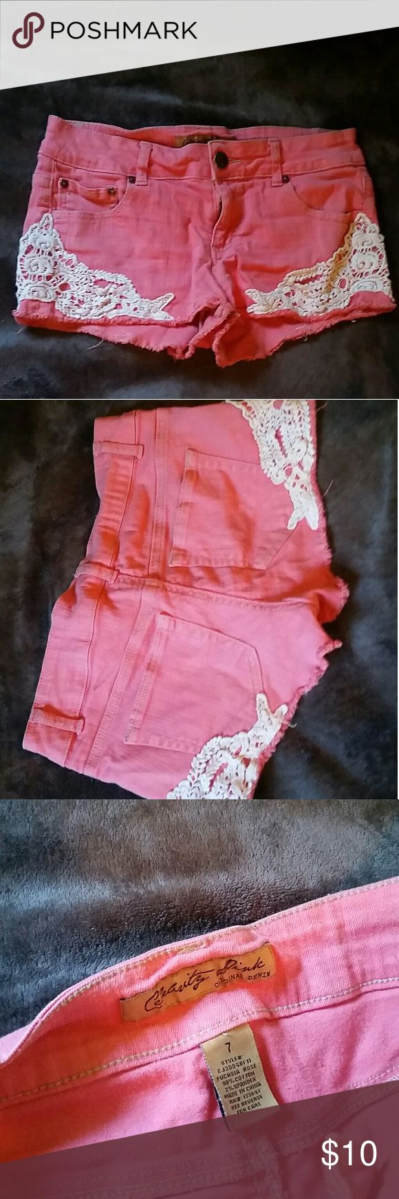 Pink & Lace Shorts Celebrity Pink Jean shorts size 7 excellent condition barely worn, no flaws :) PRICE IS FIRM UNLESS BUNDLED :) IF YOU HAVE ANY QUESTIONS FEEL FREE TO ASK :) Celebrity Pink Shorts Jean Shorts