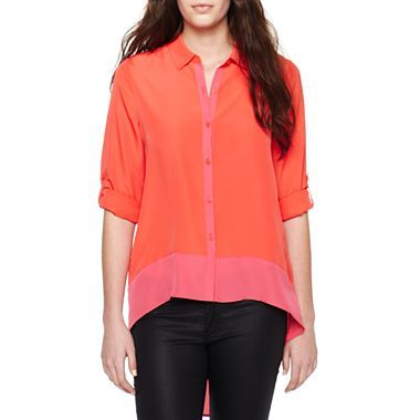 nicole By Nicole Miller® High-Low Button-Down Blouse - jcpenney