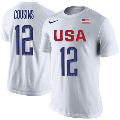 DeMarcus Cousins USA Mens Nike White Player Tee