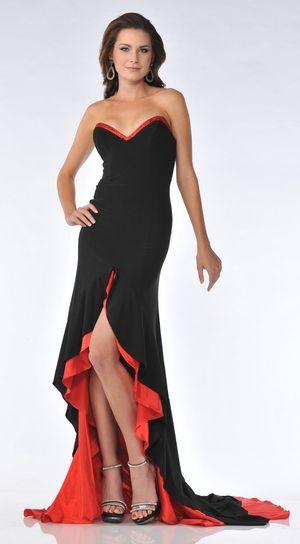 Long Red/Black Dress Chiffon/Satin Form Fitting Strapless Low Cut