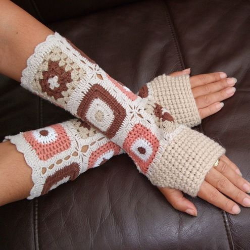A really pretty pair of upcycled Granny Square Long Length Adult fingerless Mittens!