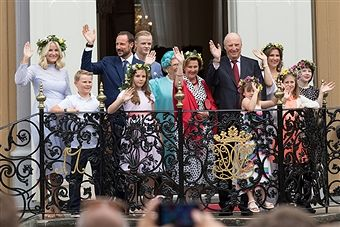 Crown Princess Mette-Marit of Norway, Prince Sverre Magnus of Norway, Crown Prince Haakon of Norway, Princess Ingrid Alexandra of Norway, Marius Borg Hoiby, Princess Astrid of Norway, Queen Sonja of Norway, King Harald V of Norway, Emma Tallulah Behn, Princess Martha Louise of Norway, Leah Isadora Behn and Maud Angelica Behn attend a garden party during the Royal Silver Jubilee Tour on June 23, 2016 in Trondheim, Norway.